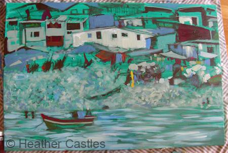 Heather Castles fine art acrylic painting work-in-progress