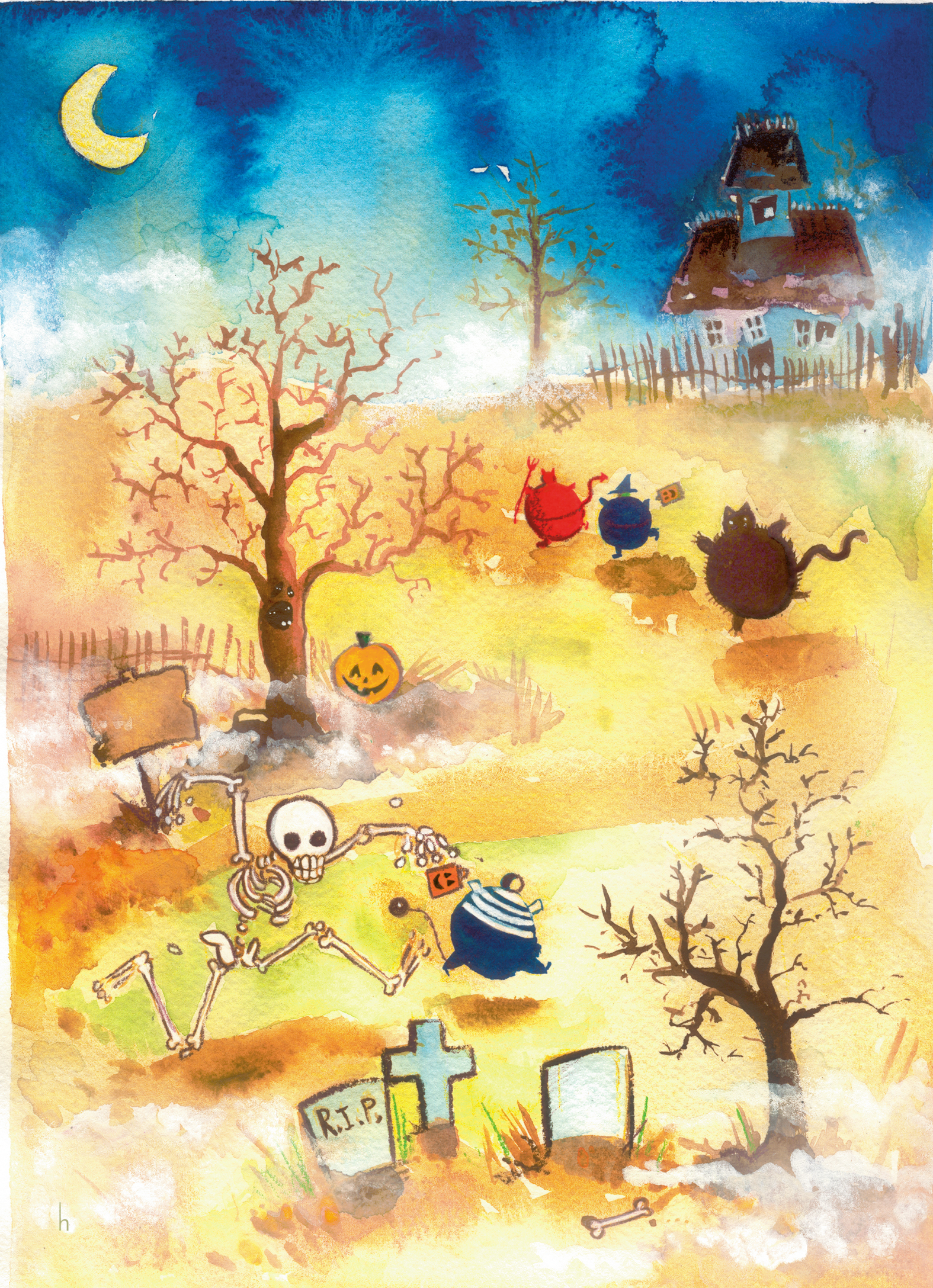 Heather Castles watercolour painting Halloween ghost skeleton trick or treat greeting card illustration