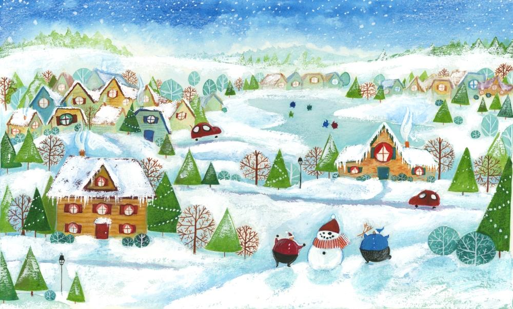 winter village whimsical illustration heather castles