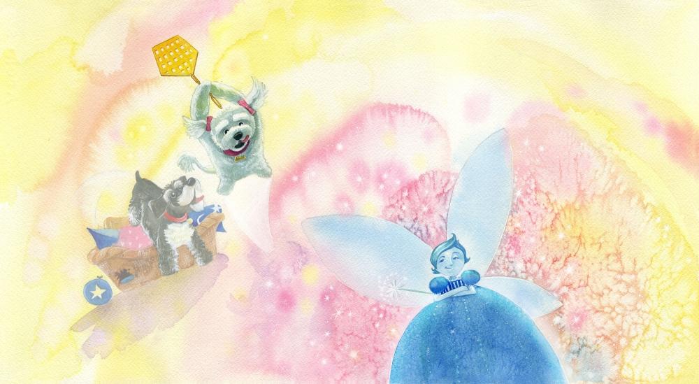 Heather Castles watercolour painting children's book illustration dogs fairies