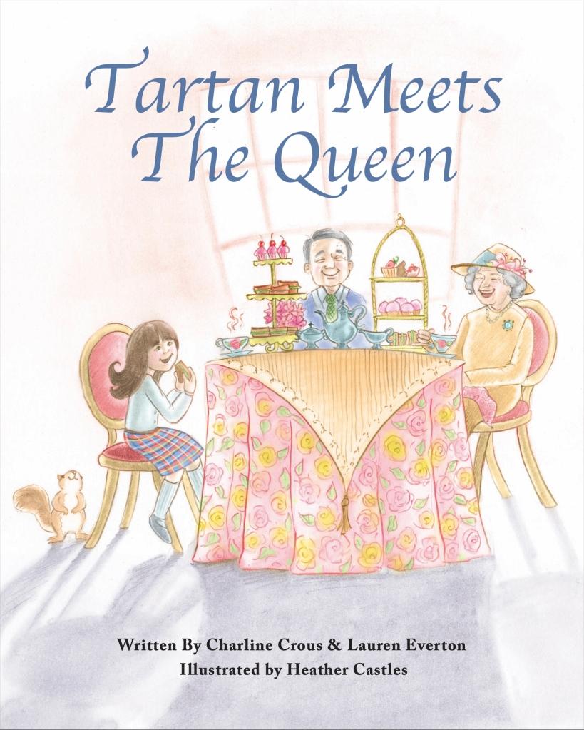 pencil digital illustrations queen England girl squirrel tea party Buckingham palace