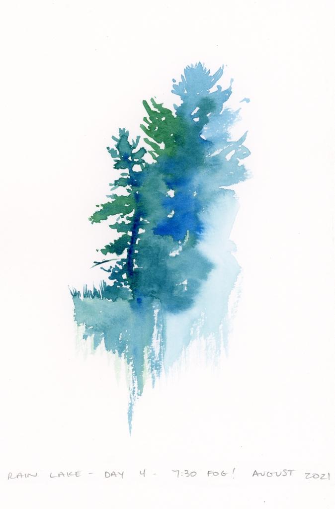 algonquin rain lake watercolor sketch heather castles en plein air