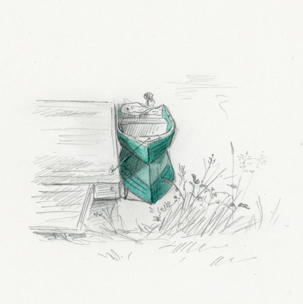 boat watercolour pencil canada sketch