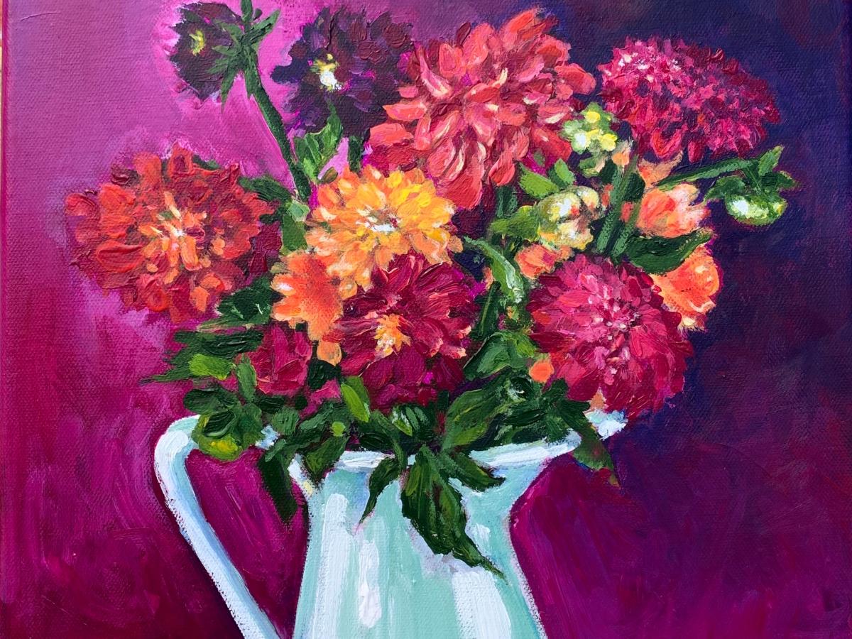 acrylic painting dahlia bouquet impressionism still life