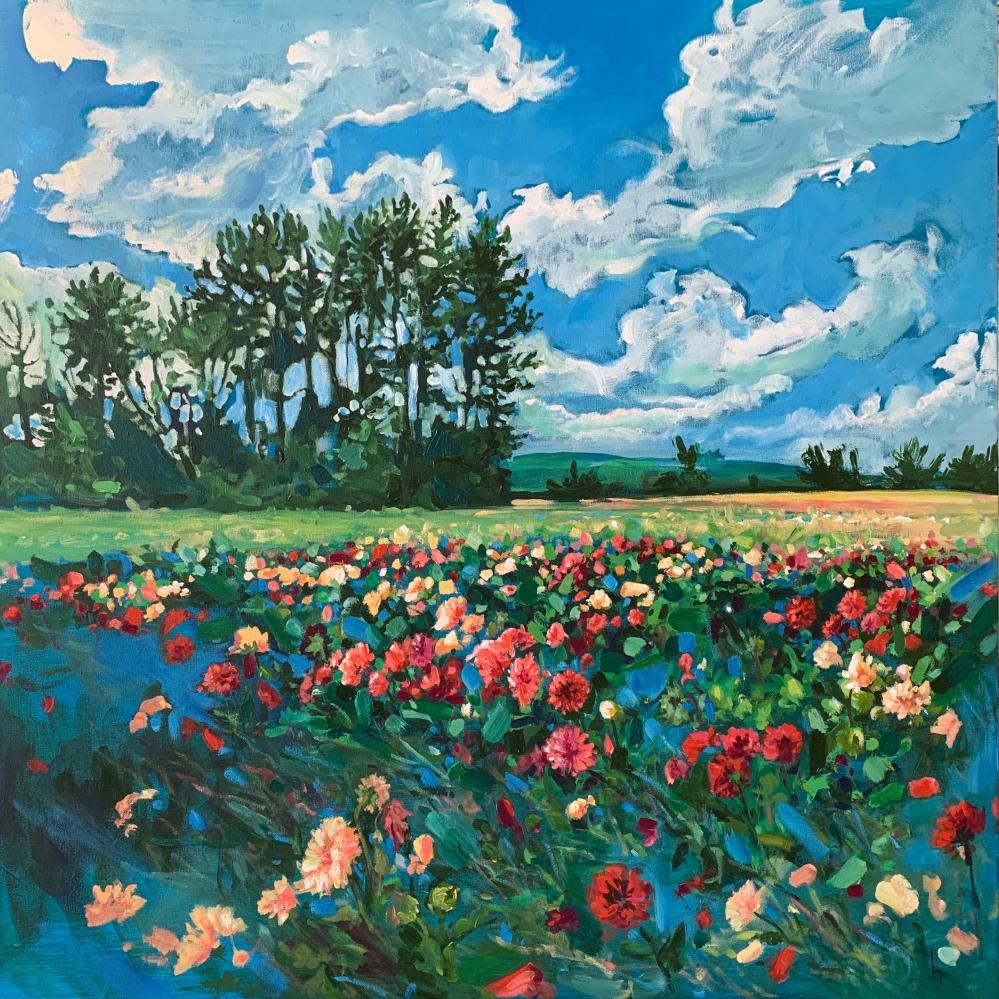 dahlia landscape acrylic impressionism fine-art canada farm